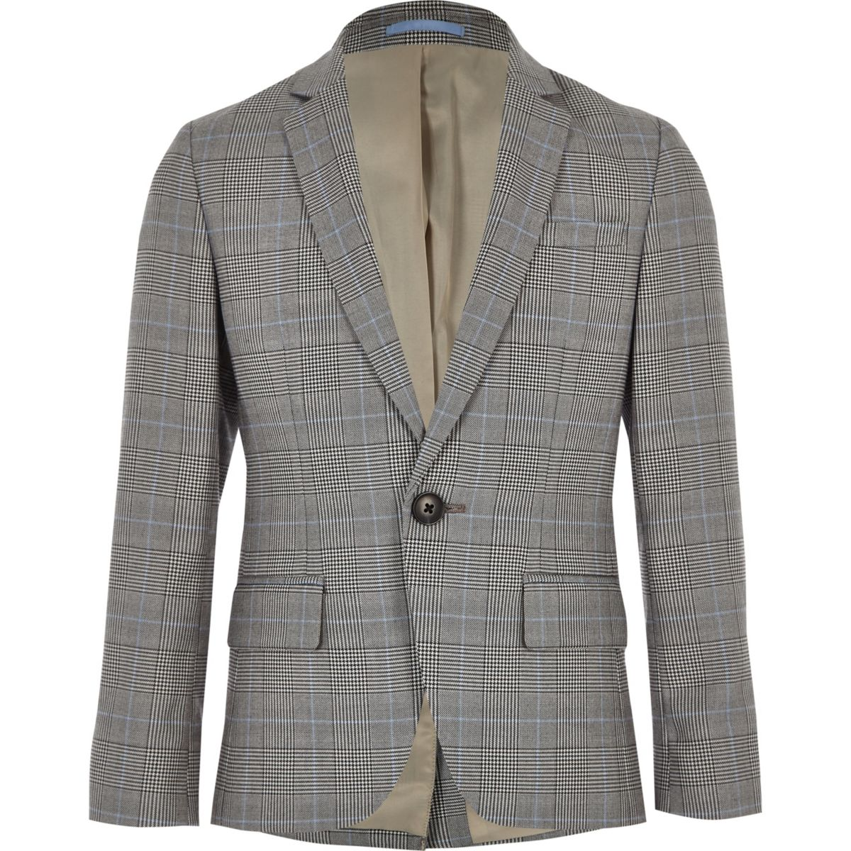 Boys grey check blazer