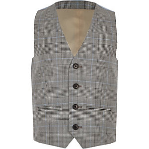 Boys grey check vest