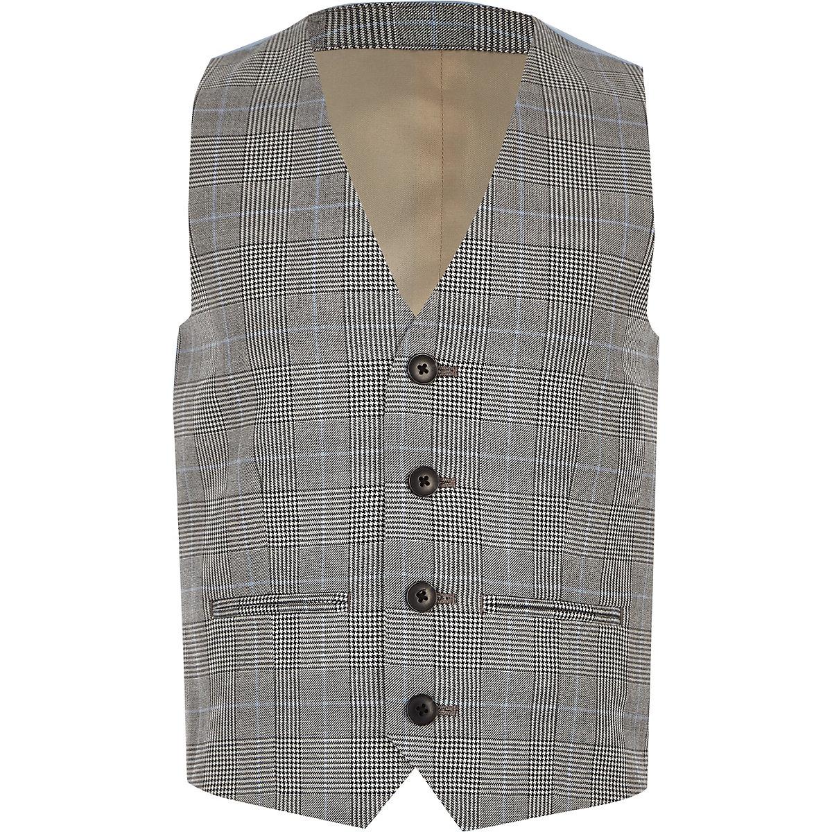 Boys grey check waistcoat