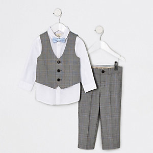 Mini boys grey check suit set