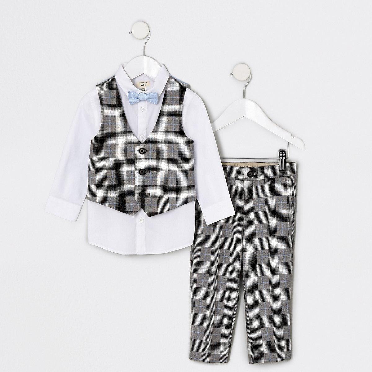 Mini boys grey check suit set