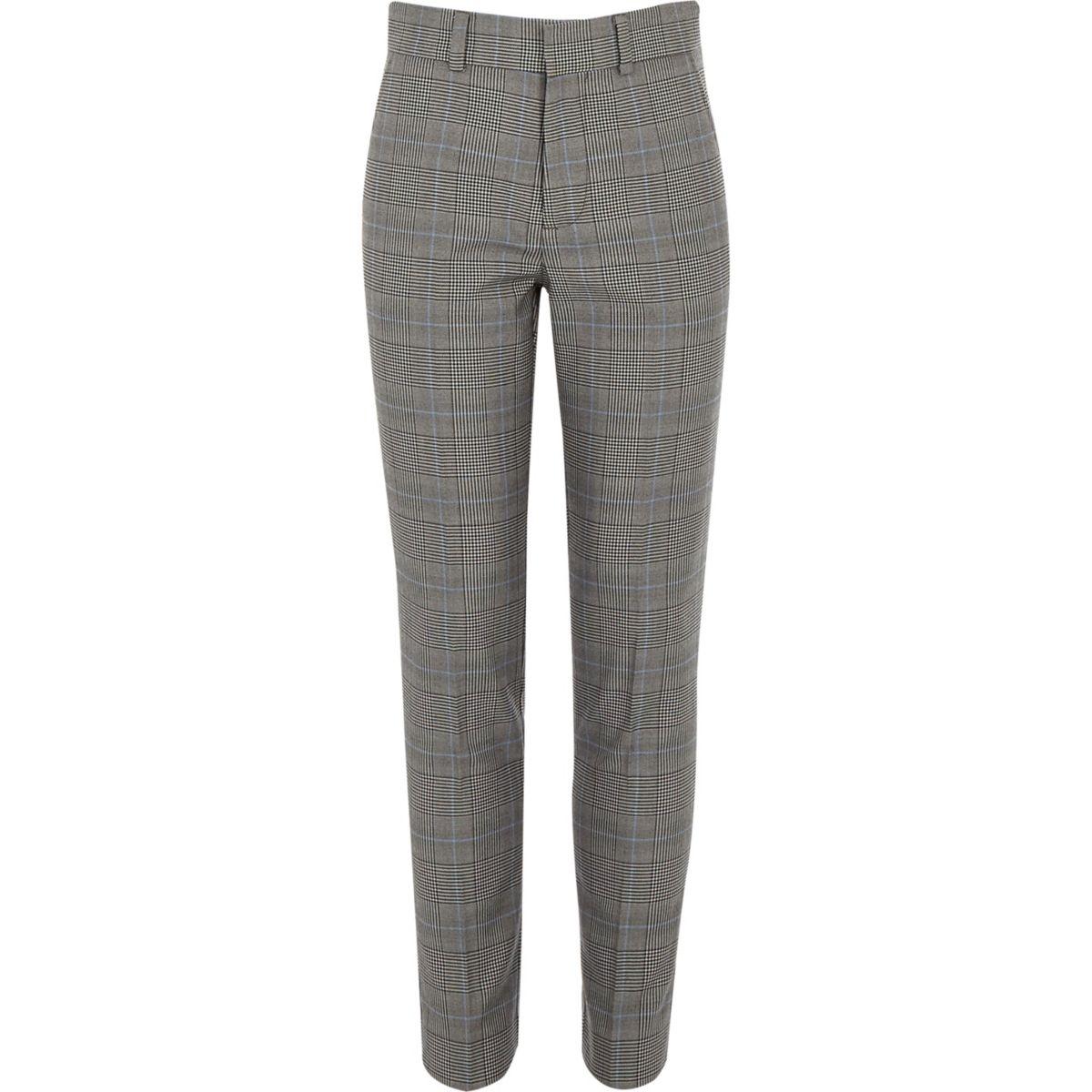 Pantalon de costume à carreaux gris pour garçon