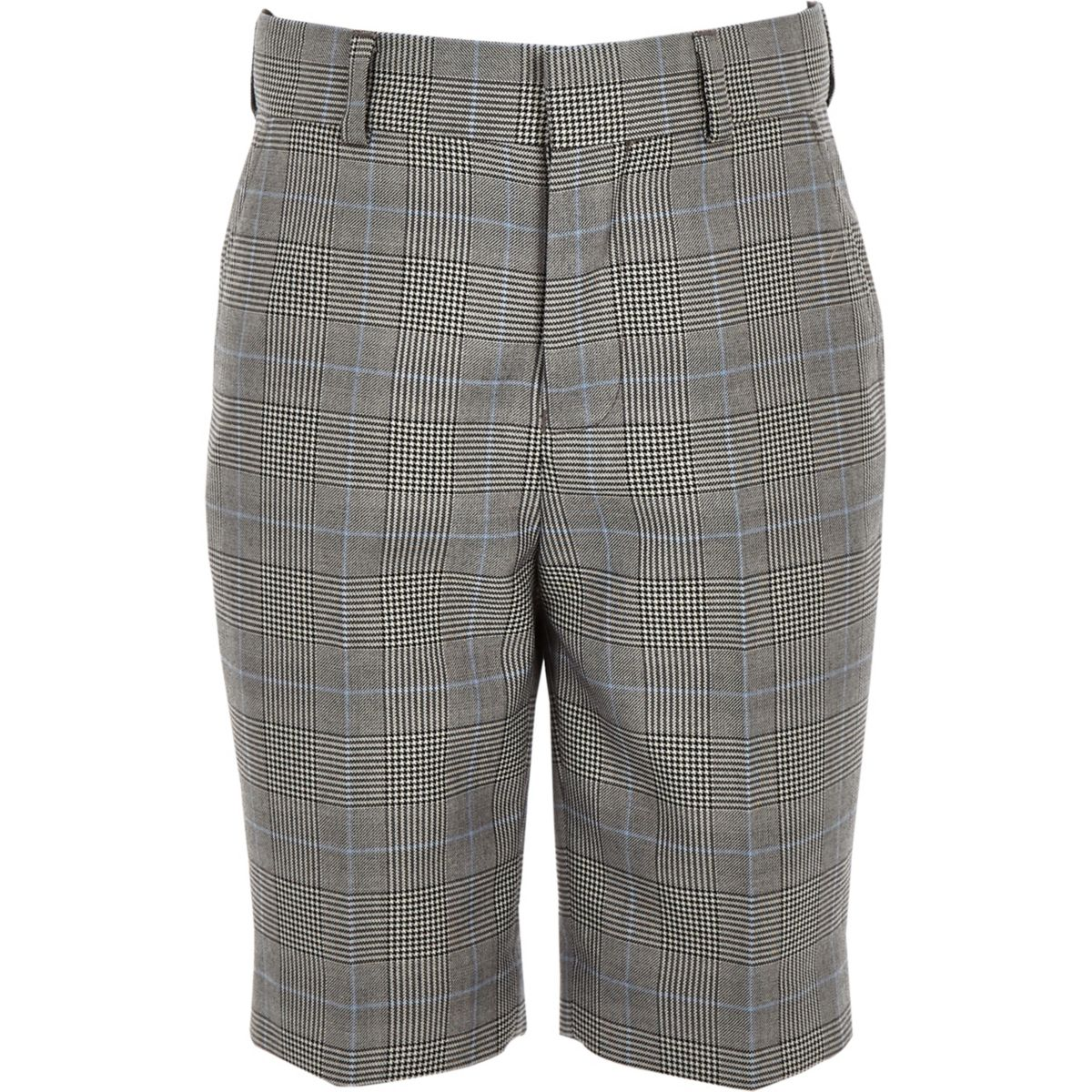 Boys grey mixed check suit shorts