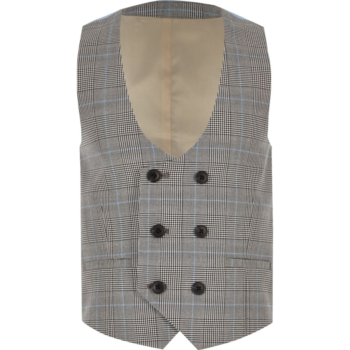 Boys grey check double breasted vest