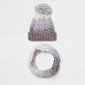 Kids grey ombre knit hat and snood set