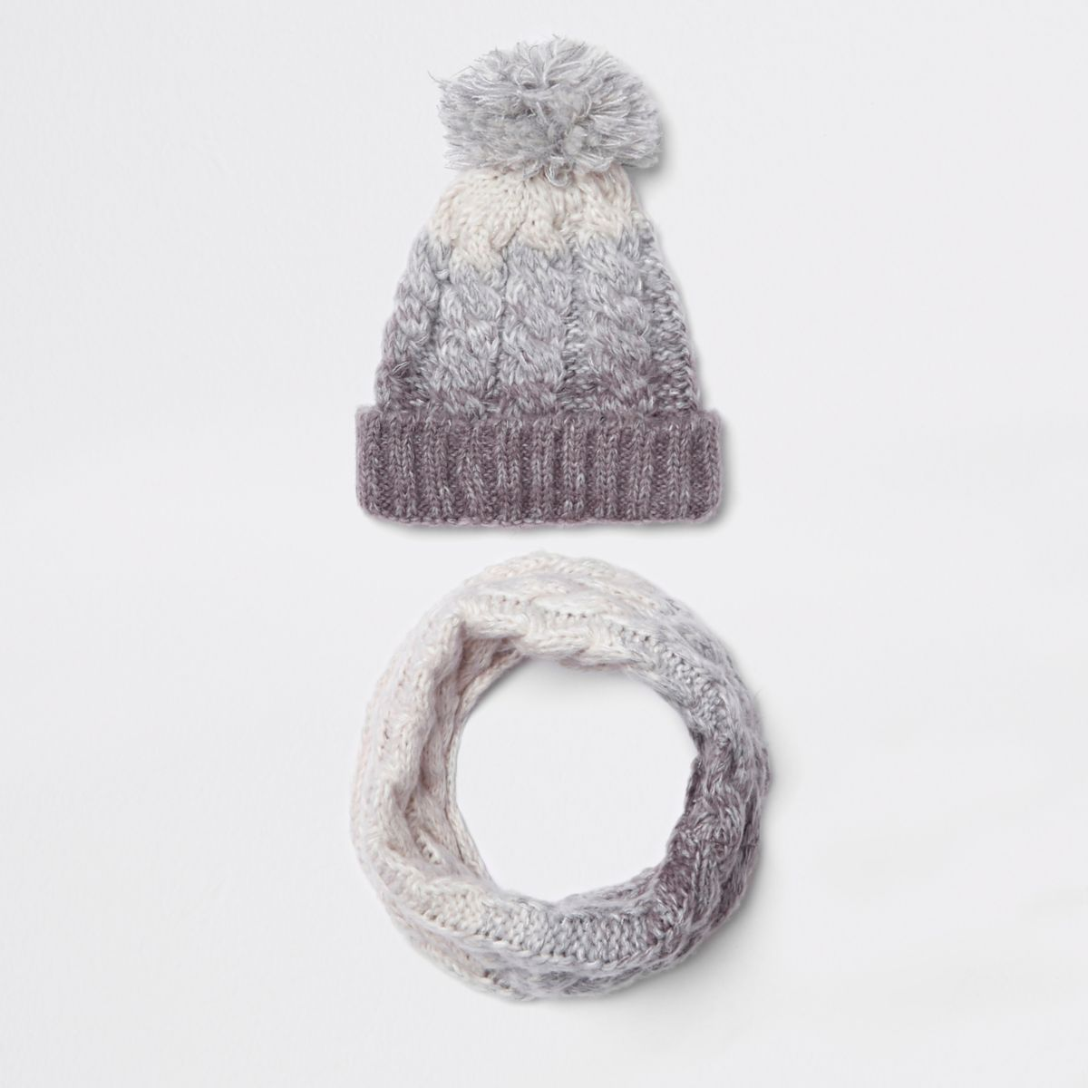 Boys grey ombre knit hat and snood set