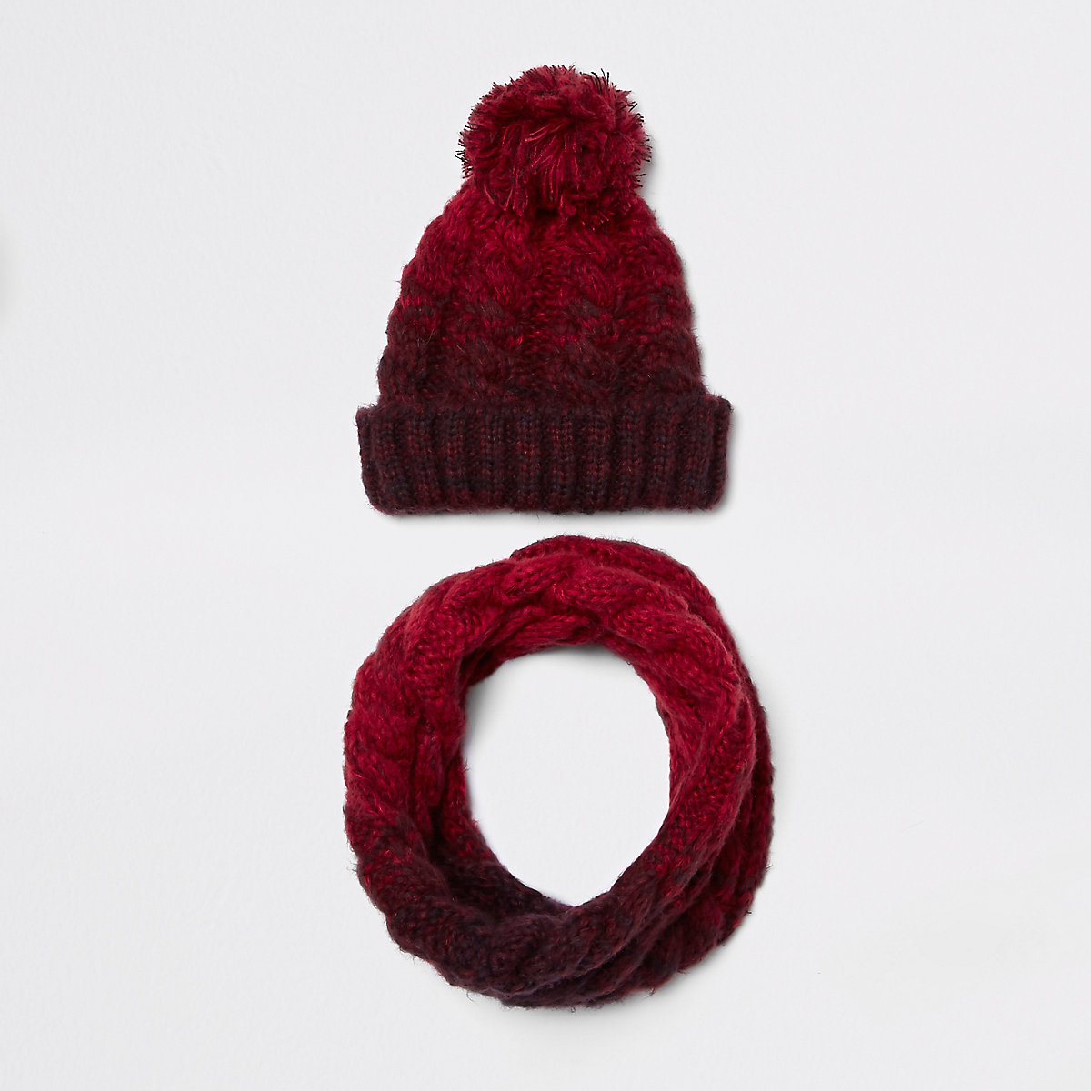 Boys red ombre knit hat and snood set