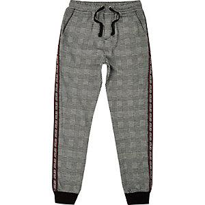 Pantalon de jogging fuselé à carreaux gris pour garçon