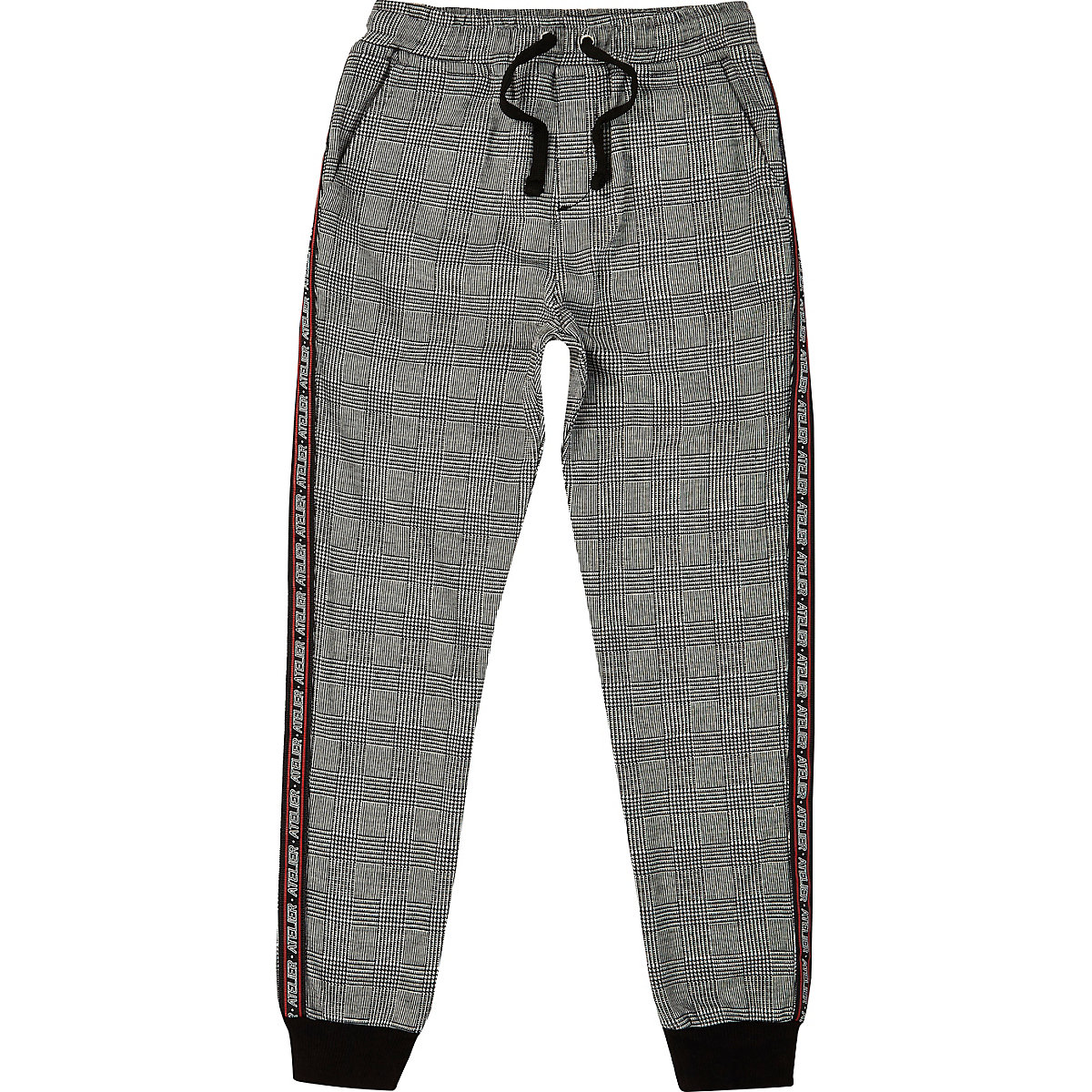 Boys grey check tapered joggers