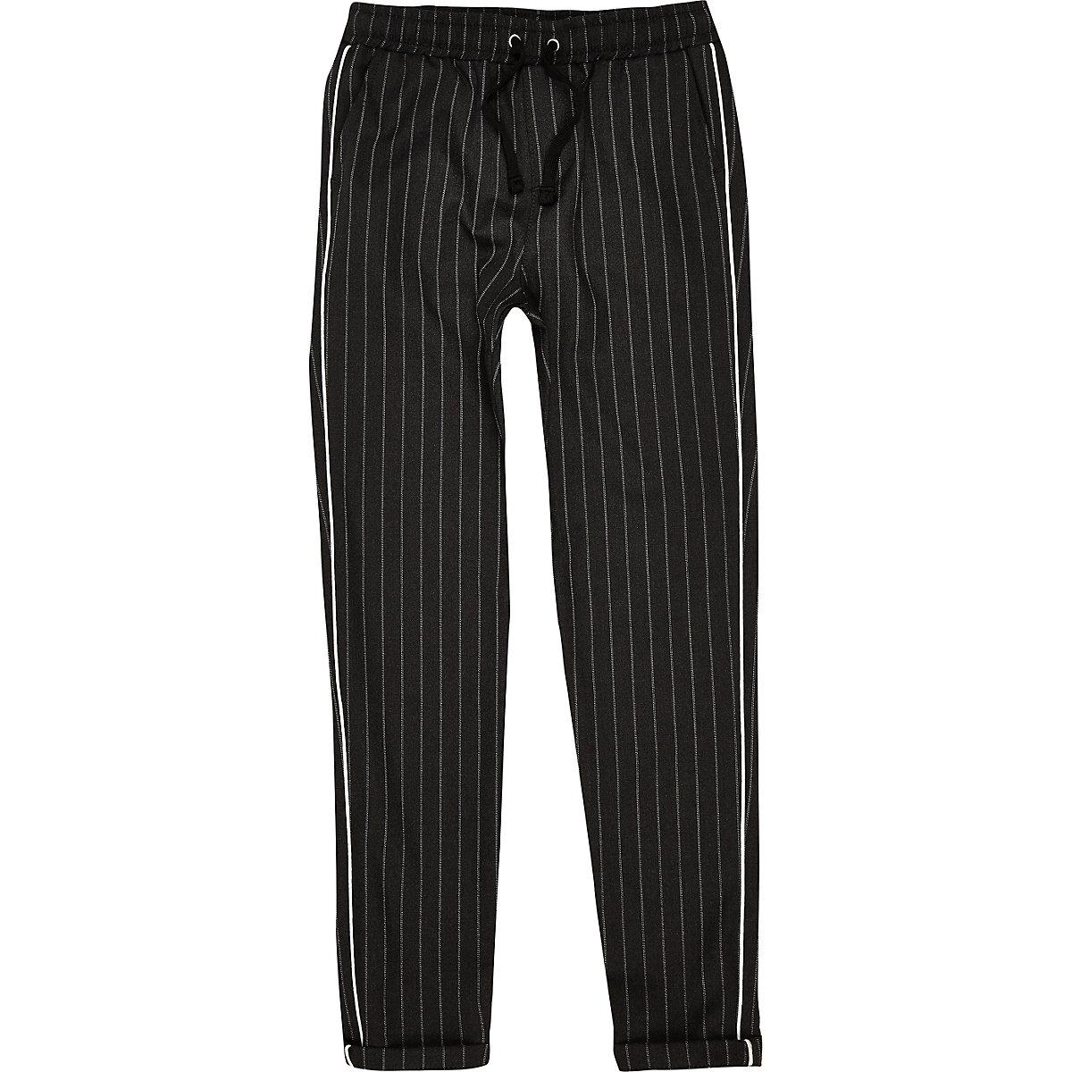 boys grey pinstripe piped pants