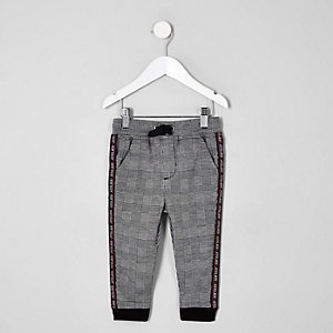 Mini boys grey check tapered joggers