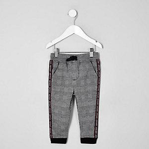 Pantalon de jogging fuselé à carreaux gris mini garçon