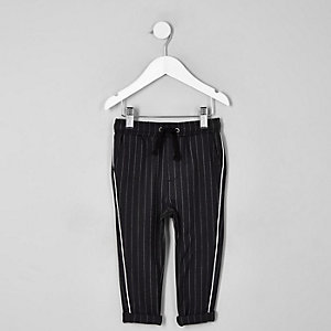 Mini boys grey pinstripe piped pants