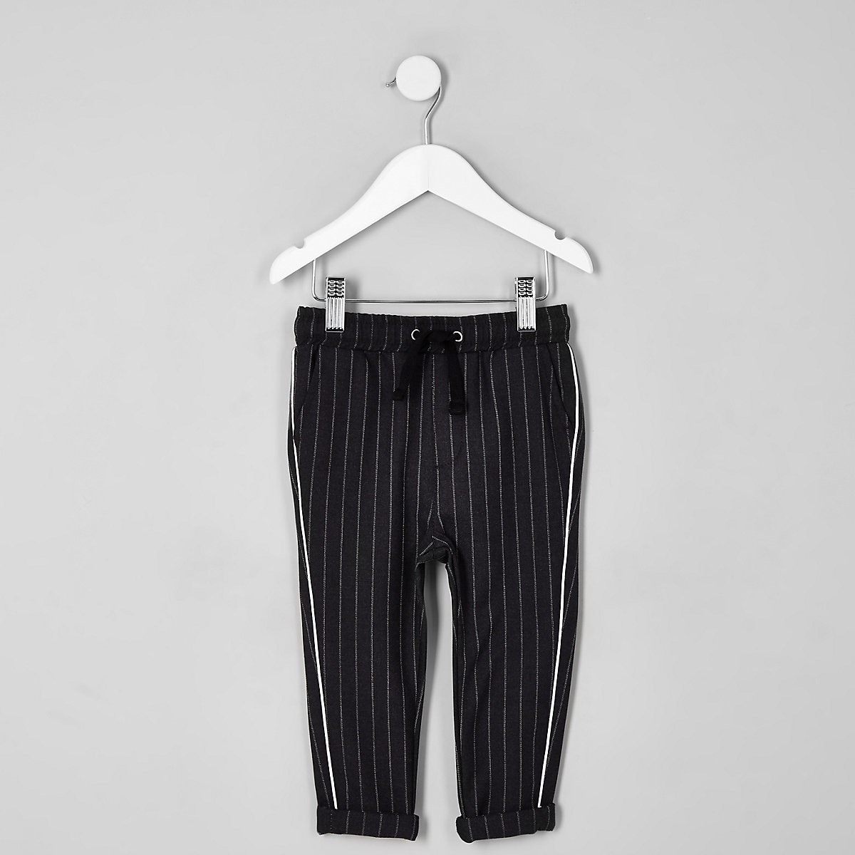 Mini boys grey pinstripe piped trousers