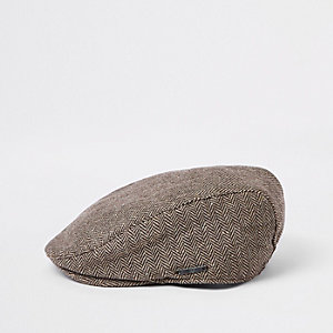 32e60c38ef4 Boys brown printed flat cap