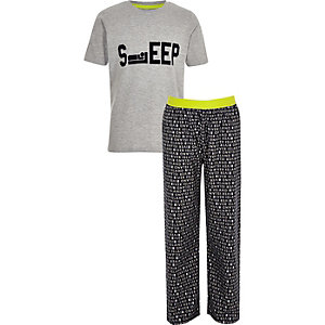 Boys grey 'Sleep' pyjama set