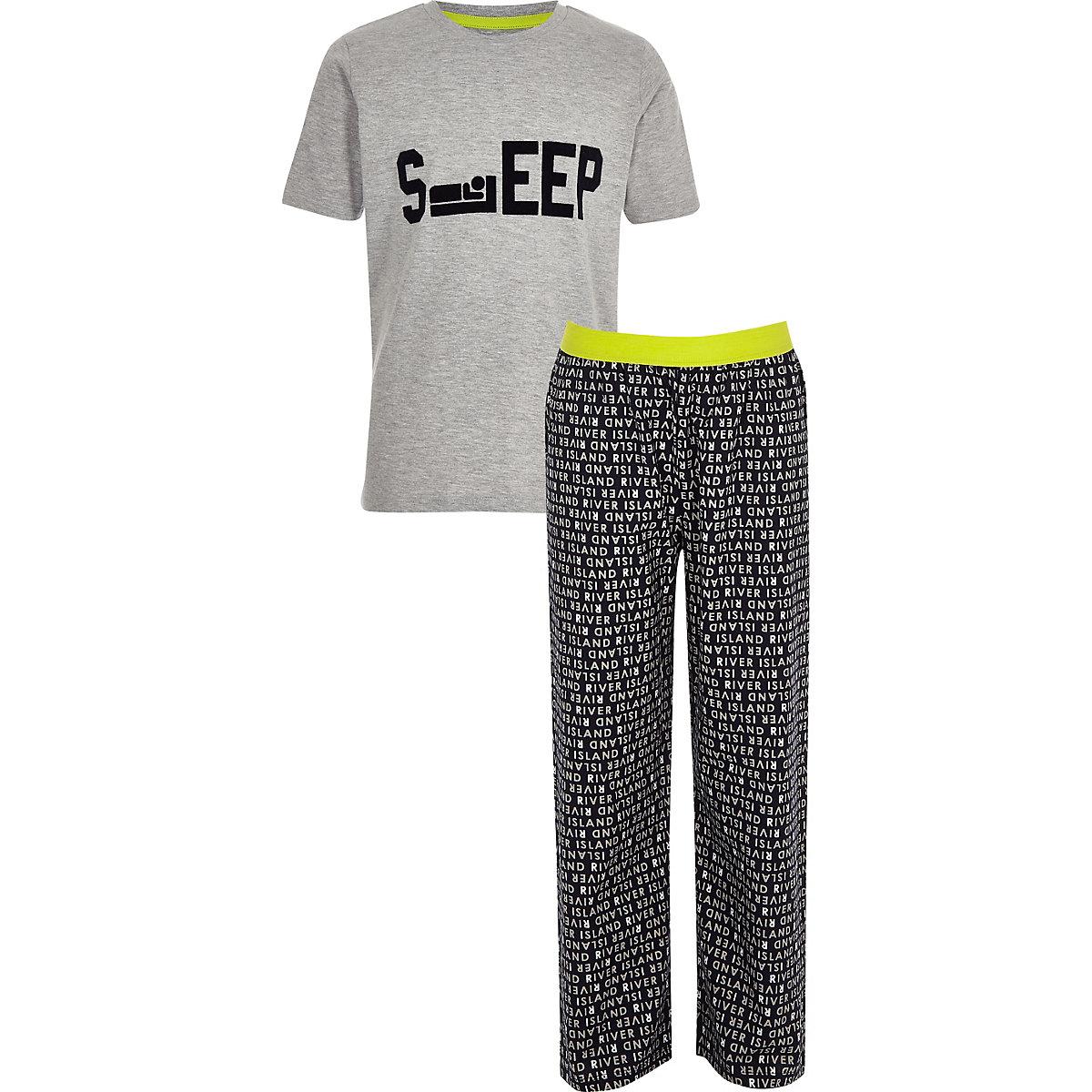 Boys grey 'Sleep' pyjama set