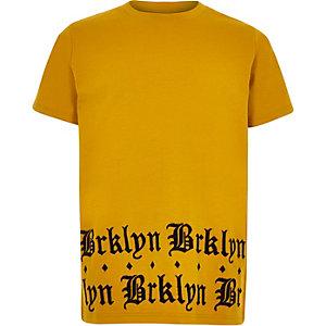 Geel T-shirt met 'brklyn'-print voor jongens