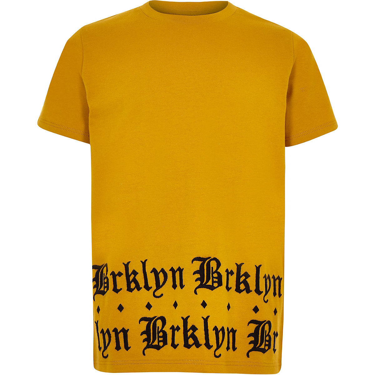 Boys yellow 'brklyn' print hem T-shirt