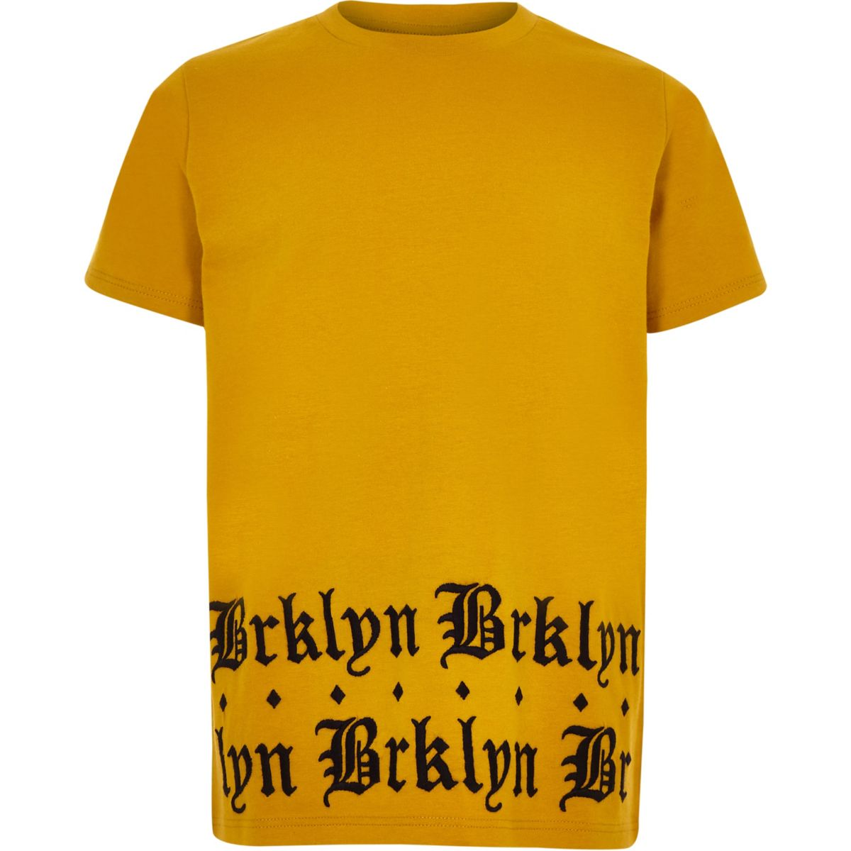 Boys yellow 'brklyn' print hem T-shirt