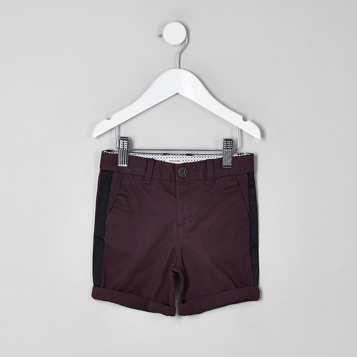 Mini boys purple Dylan tape chino shorts