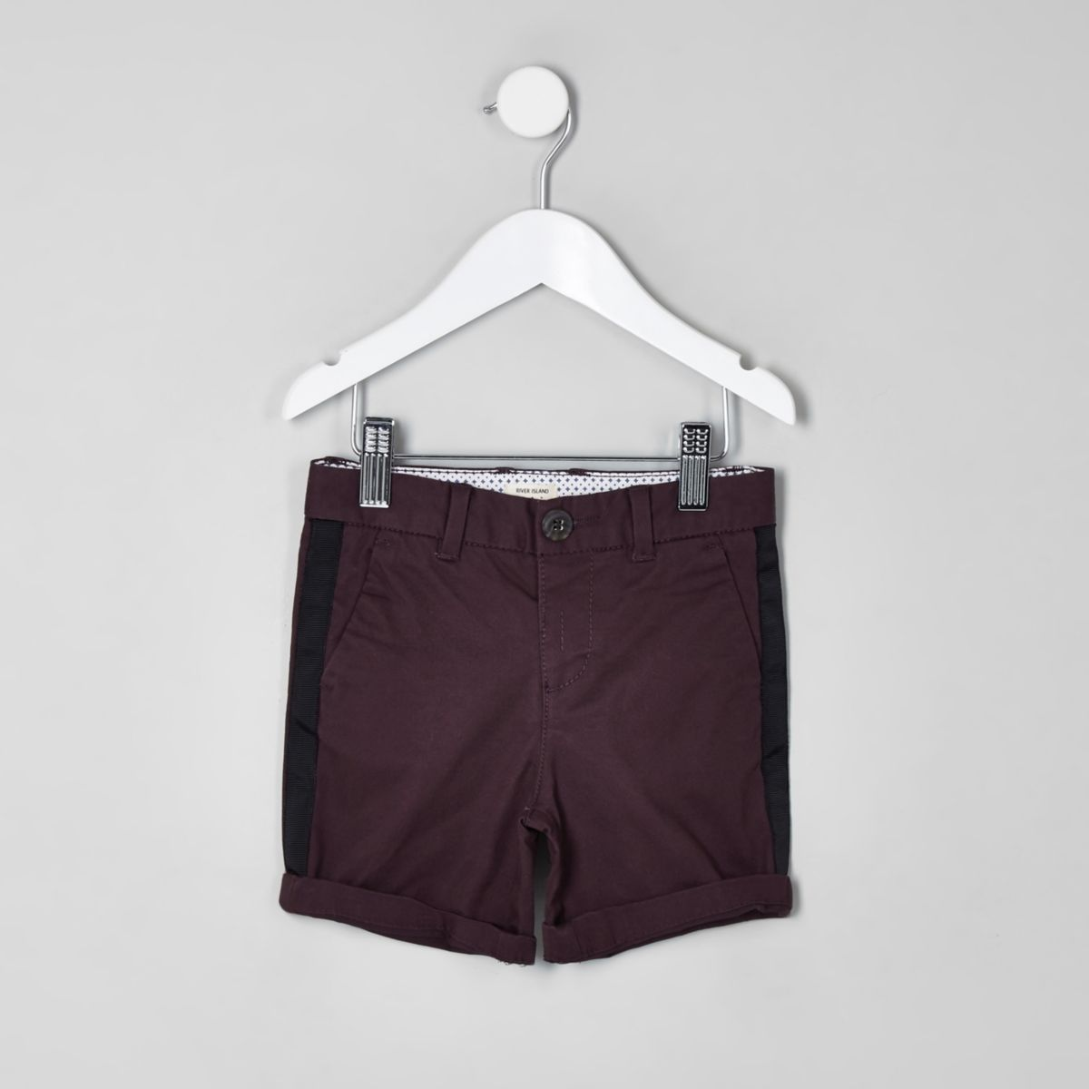 Mini boys purple Dylan tape chino shorts