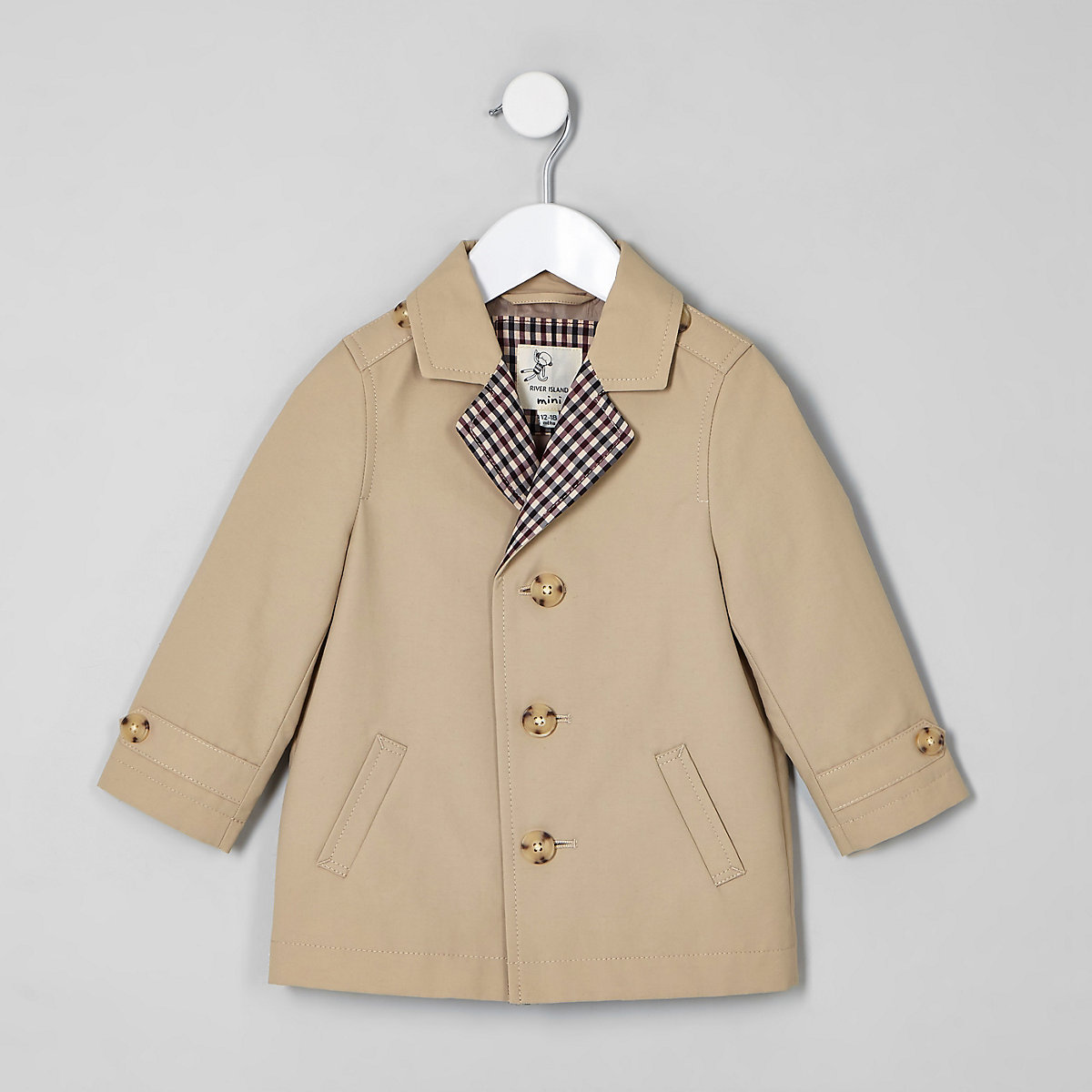 Mini boys stone lined lightweight mac coat