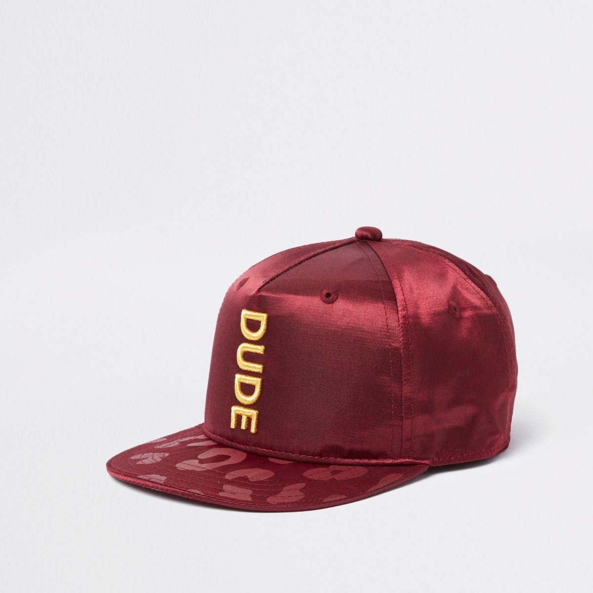 Mini boys dark red 'dude' satin flat peak cap