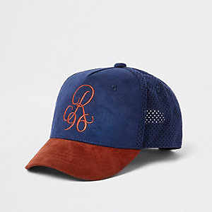 Boys dark red 'R96' suedette cap
