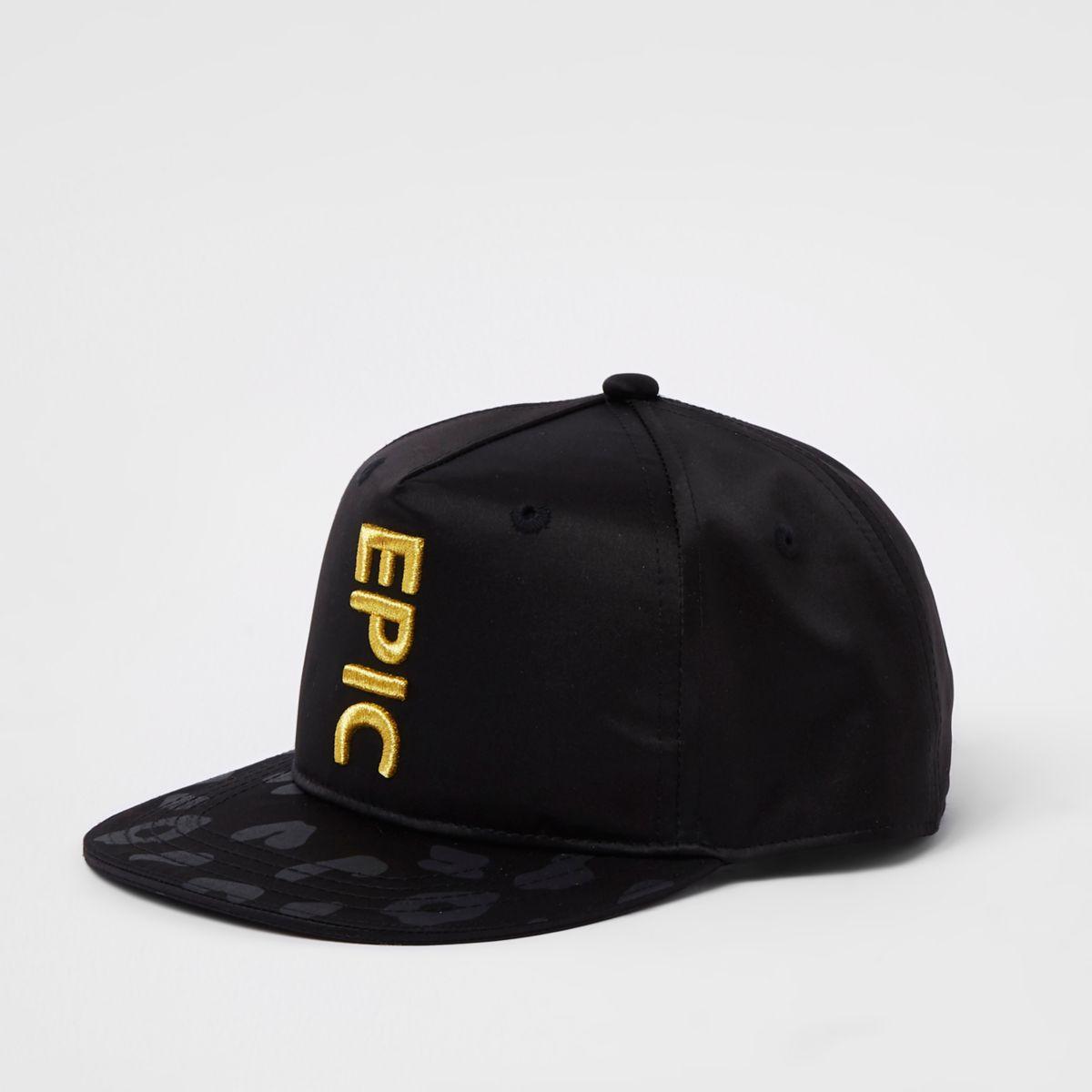 Boys black 'epic' satin flat peak cap