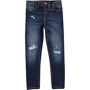 Boys dark blue Sid ripped skinny jeans
