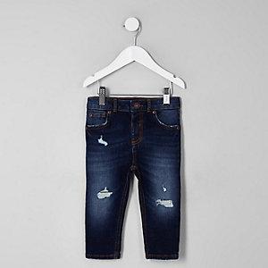 Mini - Sid - Donkerblauwe ripped skinny jeans voor jongens