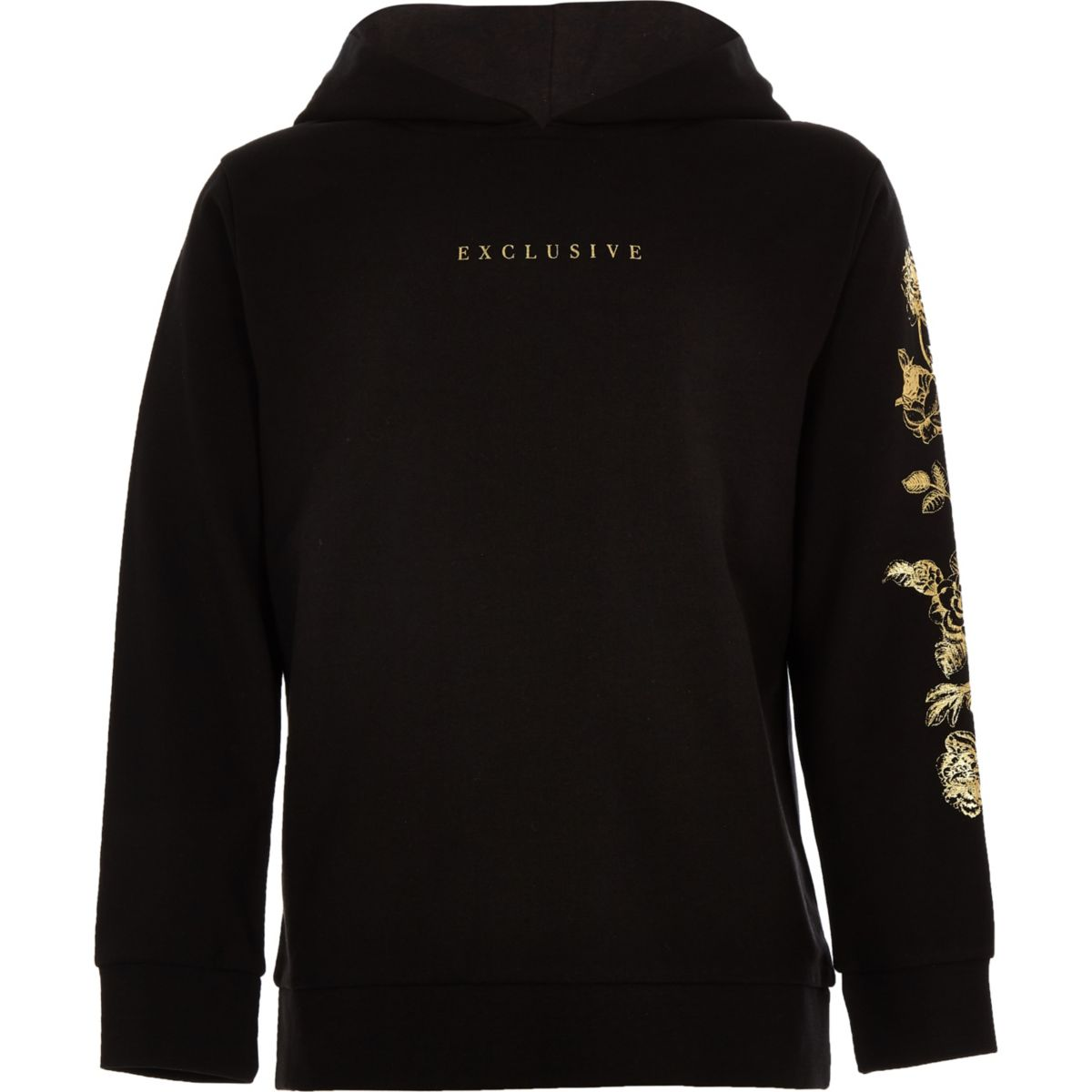 Boys black 'exclusive' gold foil print hoodie