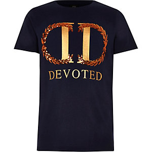 """Marineblaues T-Shirt mit """"Devoted""""-Print"""