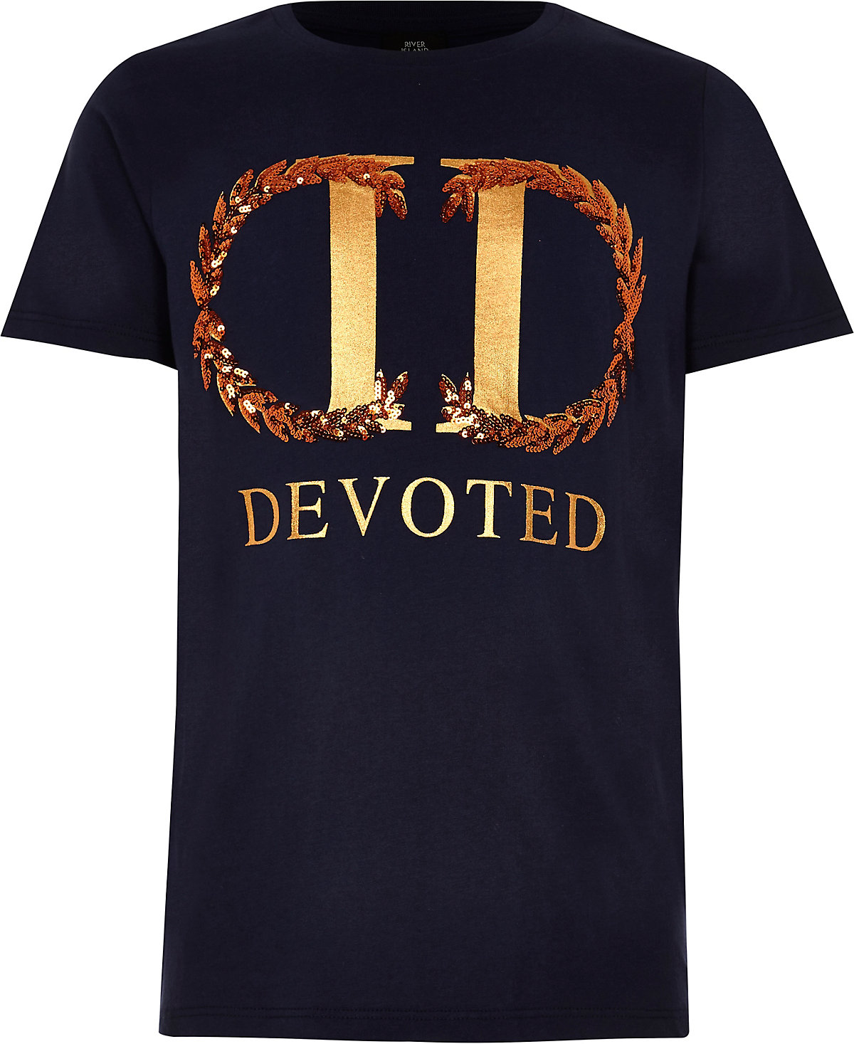 Boys navy 'devoted' front print T-shirt