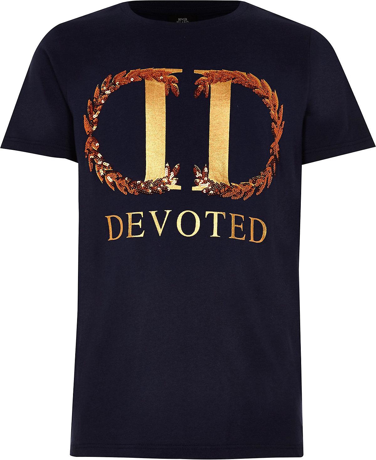 T-shirt à inscription « Devoted » métallisée bleu marine garçon