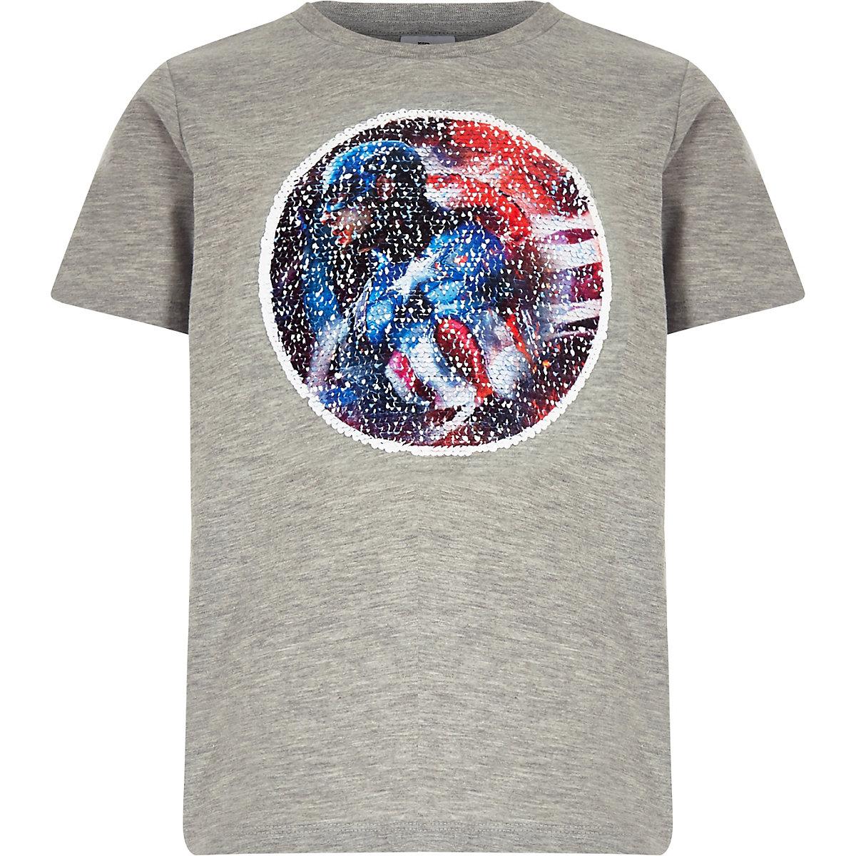 Boys grey Marvel reverse sequin T-shirt