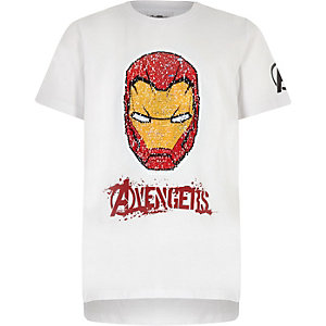 Boys white Iron Man reverse sequin T-shirt