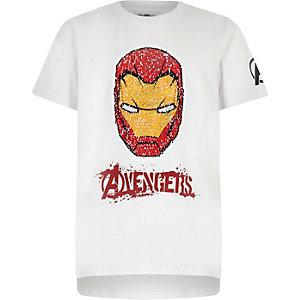 T-shirt Iron Man blanc à sequins réversibles garçon