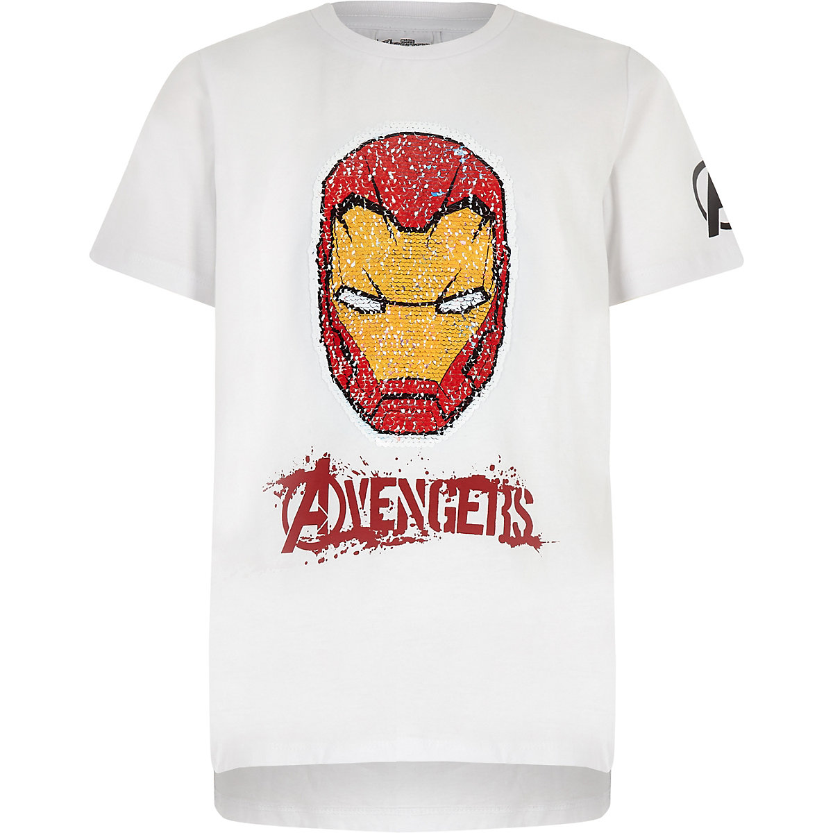 Boys white Iron Man reverse sequin T-shirt