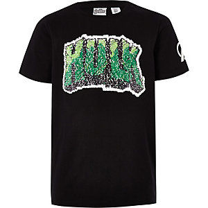Boys black Marvel Hulk reverse sequin T-shirt