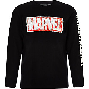 Boys black Marvel reverse sequin T-shirt