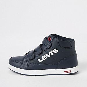 Levi's - Marineblauwe hoge sneakers met klittenband voor jongens