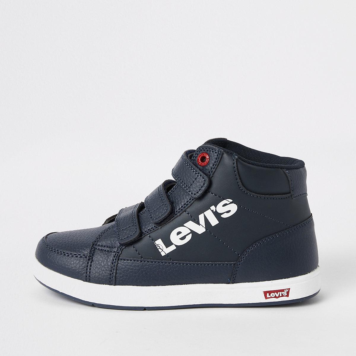 Boys navy Levi's velcro hi top sneakers