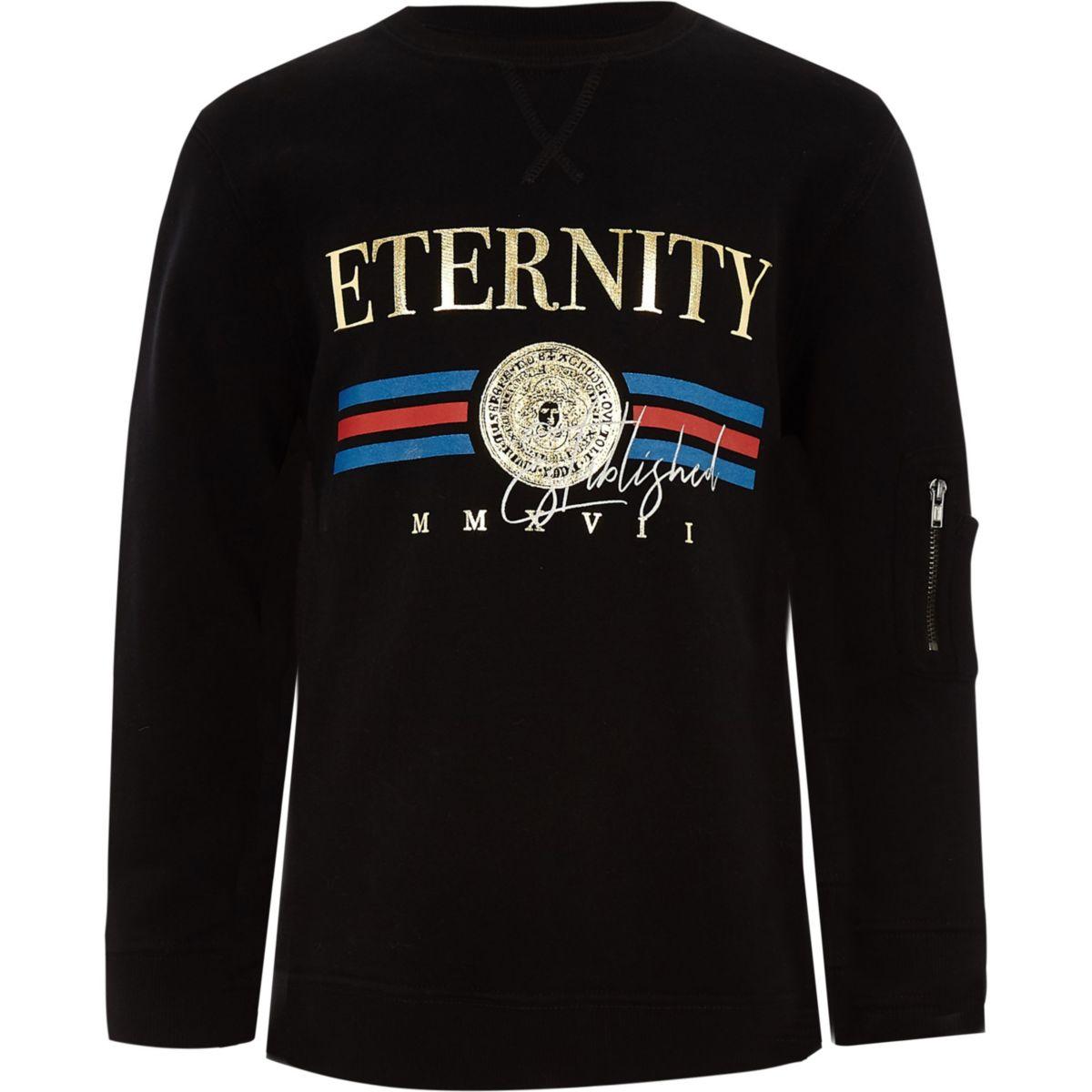Boys black 'eternity' foil print sweatshirt