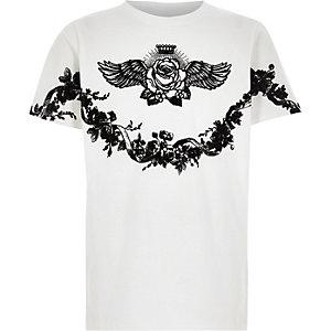 Wit T-shirt met bloemenprint voor jongens