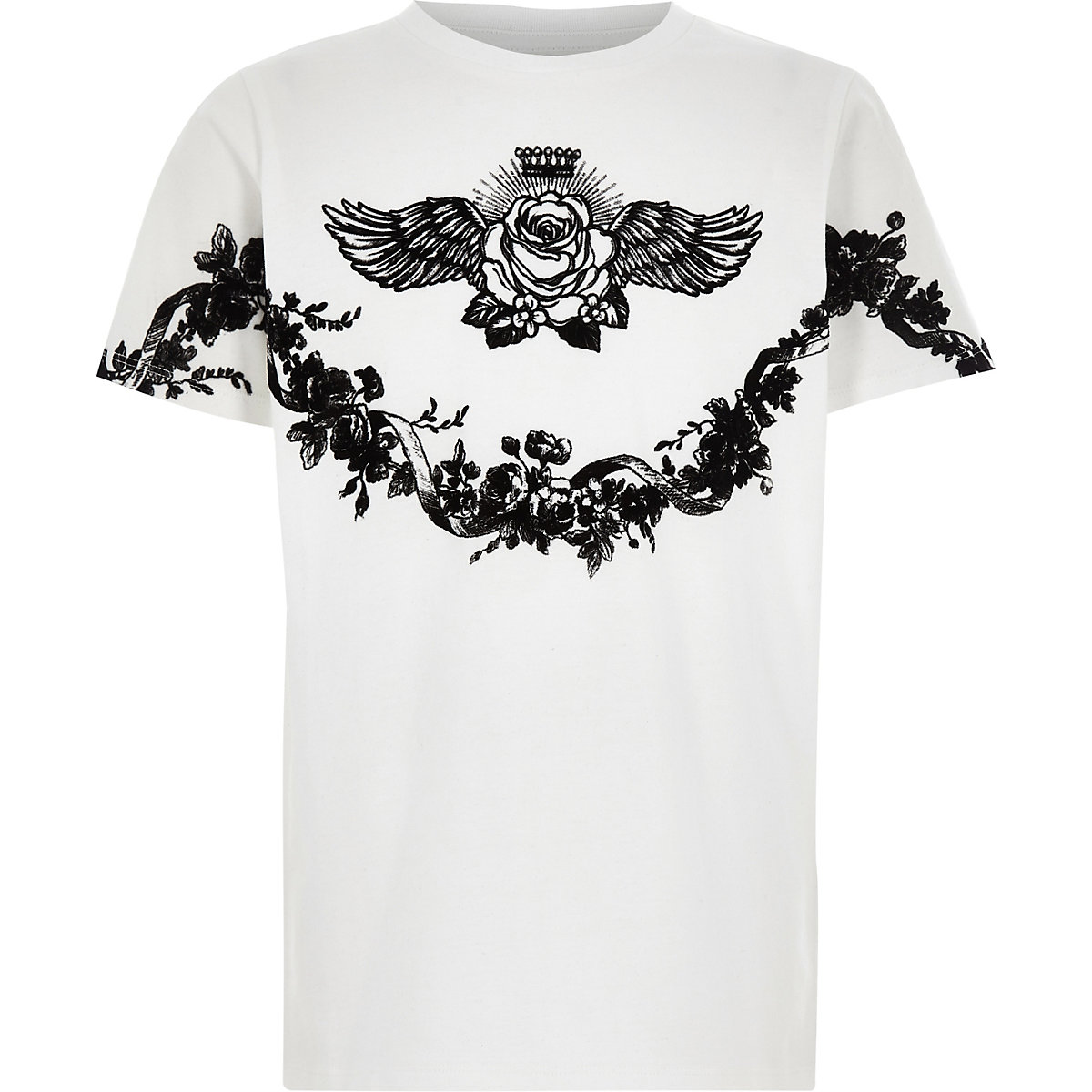 Boys white floral print T-shirt