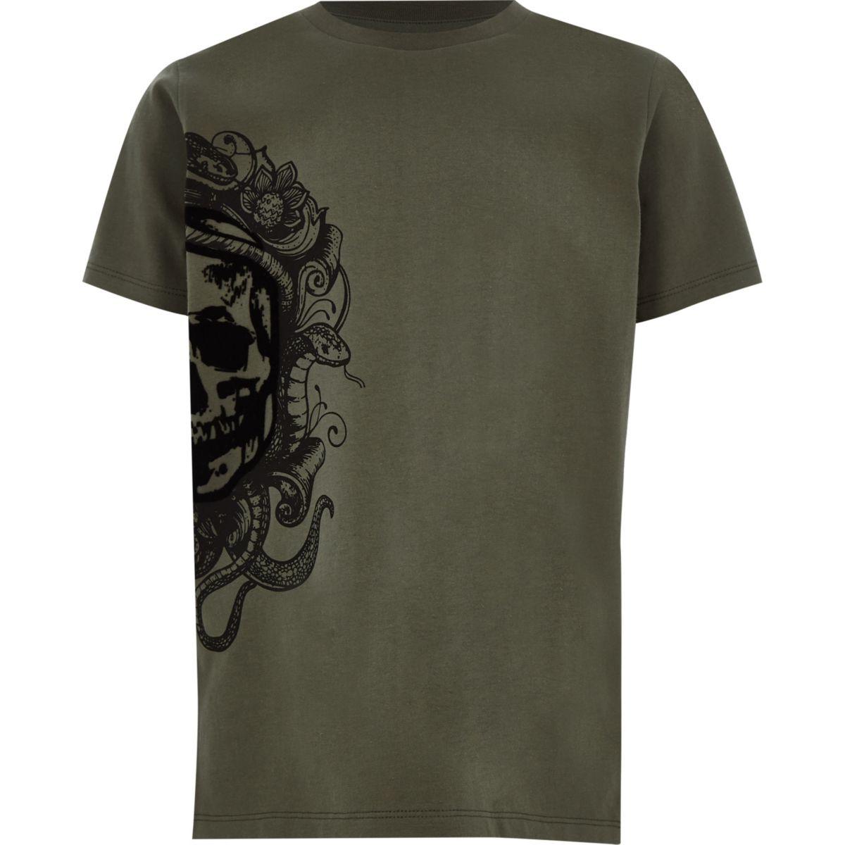 Boys khaki green skull print T-shirt