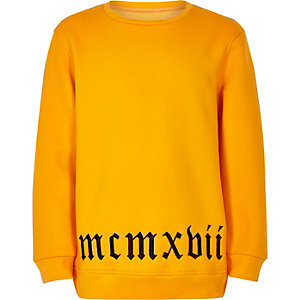Boys yellow 'mcmvbii' embroidered hem sweater