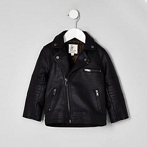 Mini boys black faux leather biker jacket